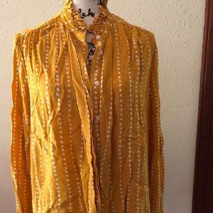 Mustard & White Polka Dot Blouse - XL - Ann Taylor